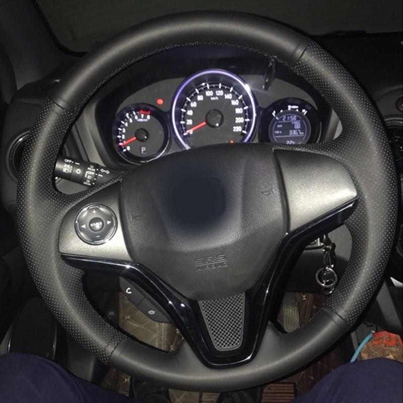Alta Qualidade Camada Superior de Couro do couro artesanal volante Costura cobre proteger Para Honda Fit/Jazz/XR-V/ HR-V/Vezel/Cidade