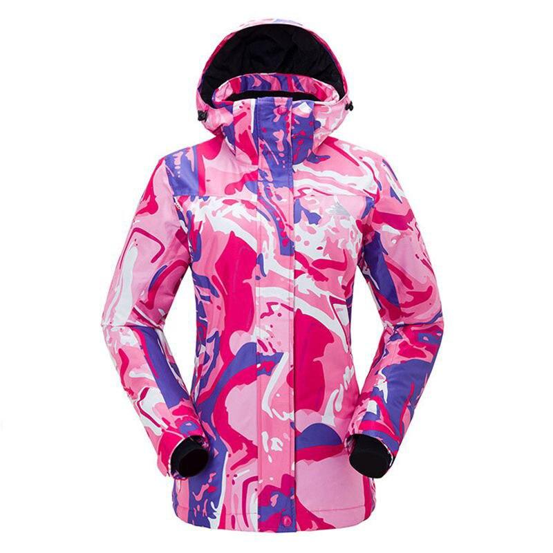 女性スキースーツブランド防水透湿女性スノーボードスーツ 2018 冬服プリント女性のスキージャケットパンツセット  グループ上の スポーツ & エンターテイメント からの スキー ジャケット の中 1