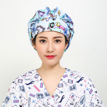 2018 New Women Long Hair Print Medical Uniforms Surgical Caps Doctor And Nurse Surgical Bouffant Cap