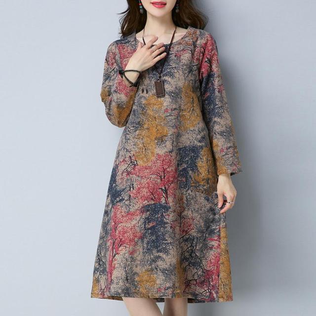 KANCOOLD Dress Fashion Women Long Sleeve O Neck Pocket Dress Cotton Linen Printed Loose Casual Dress women 2018AUG7 3
