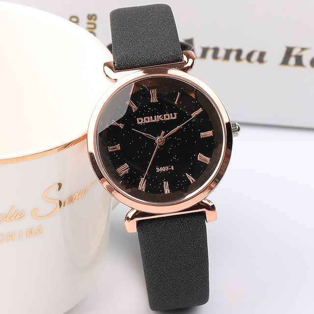 New Fashion Women Rose Gold Leather Watch Ladies Exquisite Starry Sky Small Dial