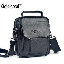 Gold korallen neue ankunft männlichen taillensatz echtem leder handtasche mann tasche umhängetasche kleine messenger bags für männer rindsleder