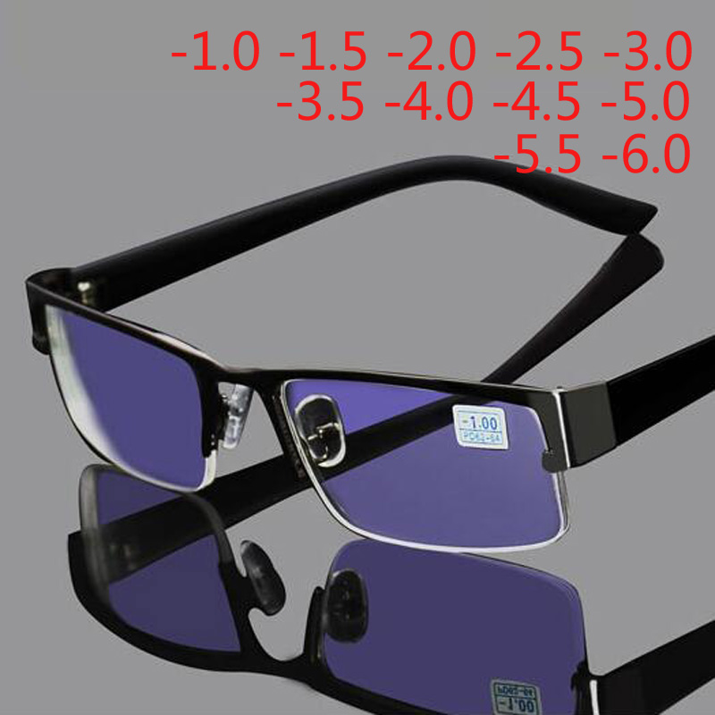 Stainless Myopia Glasses Men Eyeglasses Half Metal Spectacles Eyeglass Frame -0.5 -1.0 -1.5 -2.0 -2.5 -3.0 -3.5 -4.0 To -6.0