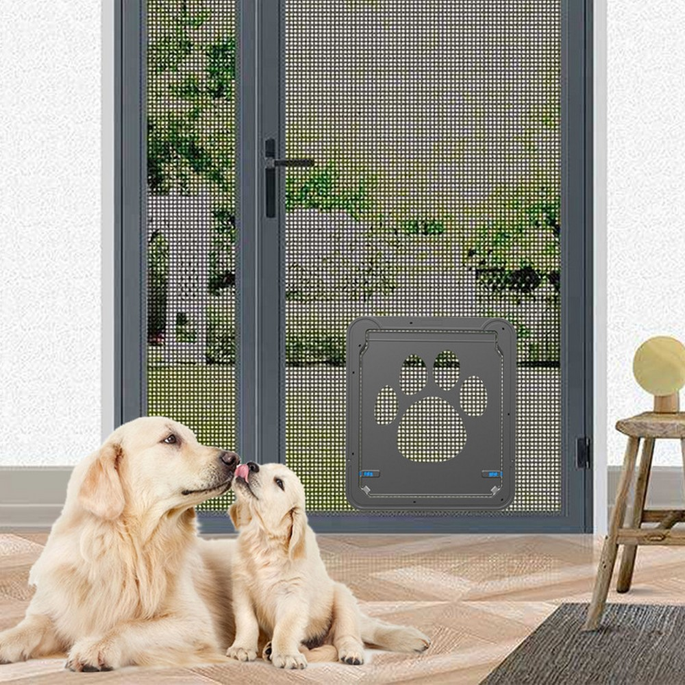 Pet Screen Door Dog Cat Automatic Magnetic Lockable Flap Net Gate