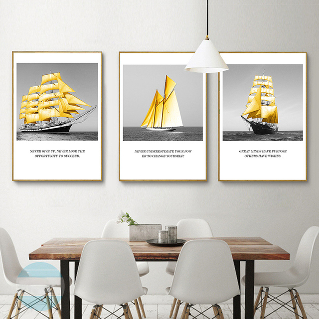 Office Wall Decor For Haochu Nordic Minimalistische Zeegezicht Zeilboot Inspirational Quotes Kunst Poster Canvas Schilderij Office Wall Decor