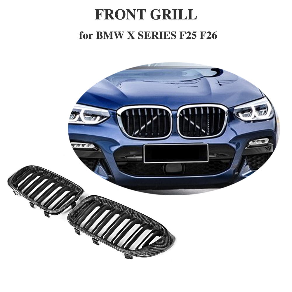 Carbon Fiber Gloss Black Front Bumper Grill Grille For BMW F25 X3 F26 X4 SUV 4 Door 2014 2017 Car Styling
