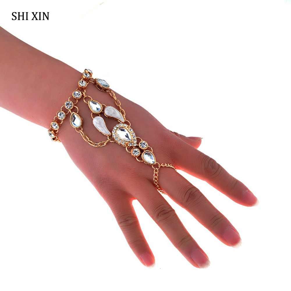 SHIXIN Takılar Boho Parlak Tam Kristal Taklidi Bilezik Bilezik Kadınlar için Moda Lüks Hint El Zincir Takı Kadın Manşet