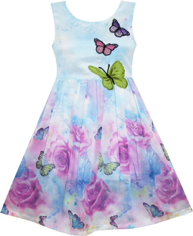 Girls Dress Rose Flower Print Butterfly Embroidery Purple 4-12 kids children girl clothes summer princess dresses