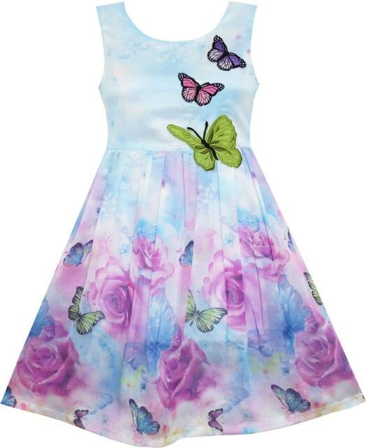 Sunny Fashion платья для девочек платье Роза Цветок Распечатать Бабочка Вышивка Пурпурный