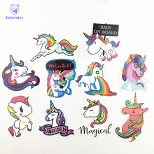 10 Pcs Colorful Cute Unicorn Stickers for Laptop Car Styling Phone Luggage Bike Motorcycle Mixed Cartoon