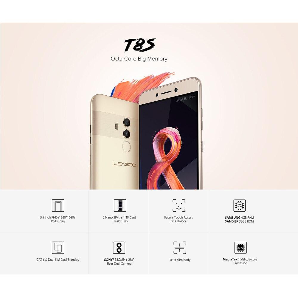 Image 5 - LEAGOO T8s мобильный телефон ОЗУ 4 Гб ПЗУ 32 Гб 5,5 дюймов FHD Android 8,1 MT6750T Восьмиядерный Лицо ID 13MP OTG gps две SIM 4G смартфоны-in Мобильные телефоны from Мобильные телефоны и телекоммуникации