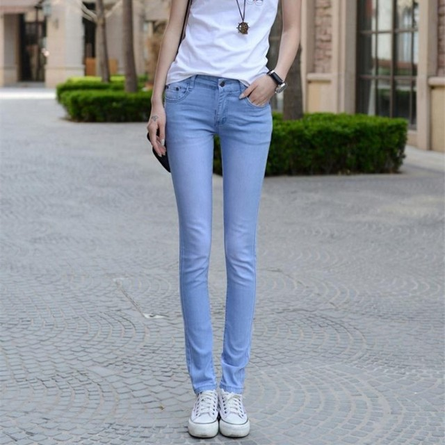 NEW fashion brand women skinny pencil jeans denim elastic pants washing light color good quality casual jean pants trousers