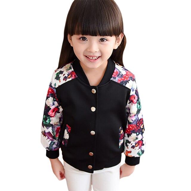 Baby Girls Floral Print Jackets 2016 New Autumn Winter Baseball Jackets Coats Black White Cardigan Children Outwear 3-7T GC17