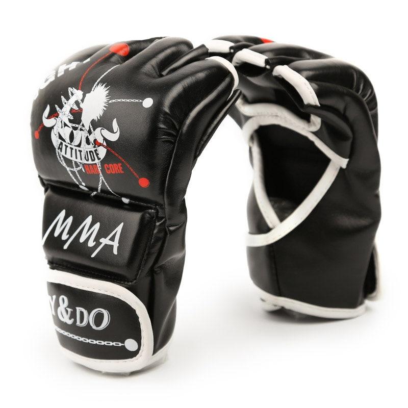 1 Pair Nuove donne uomo di Mezza Finger Fight Guantoni Da Boxe Guanti Sanda Karate Sacchi Di Sabbia di Protezione Per Boxeo MMA Muay Thai kick Boxing