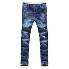 2017 новый мужской моды досуг прямые джинсы мужские брюки с высоким качеством 100% хлопок джинсы размер 28-34