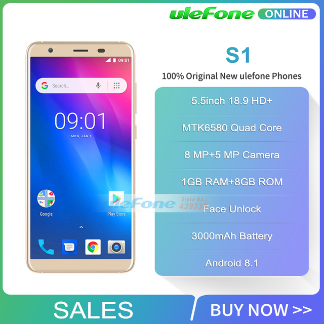 Ulefone S1 Mobile Phone 5.5 inch 18:9 MTK6580 Quad Core 1GB RAM 8GB ROM 8MP+5MP Rear Dual Cameras Android 8.1 3G Smartphone