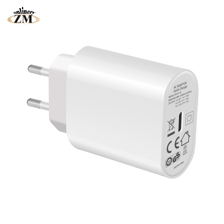 ZMonlinery 18W Type-C Wall Fast Charger Power Adapter With Power Delivery For Apple MacBook/iPhone X/New IPad Pro PD Charger