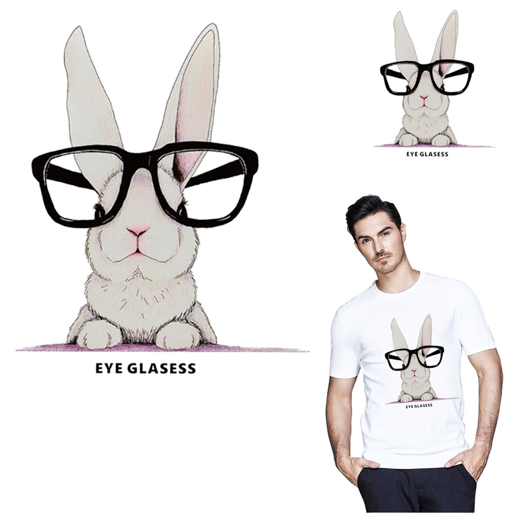 Cartoon glasses rabbit Iron on A-level patches Decoration printing Heat transfer Pyrography for DIY clothes Tshirt bags washable
