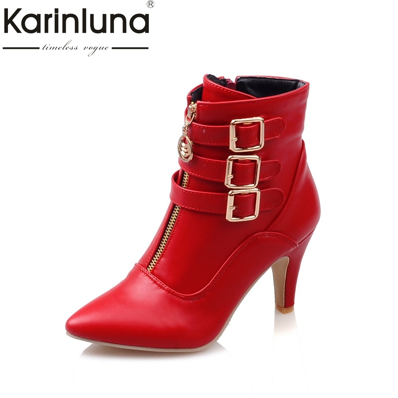 KarinLuna new Fashion black Large Size 33-44 high heels women shoes woman buckles ankle boots winter autumn short boots summer new large size denim shorts female high waist jeans thin 2017 new fashion women slim belly short pant