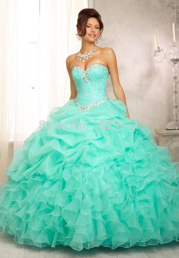 Online Shop 2014 Puffy Quinceanera Dresses Ruffles Organza Lace Up ...