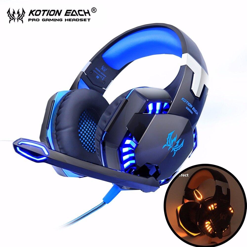 Kotion cada G2000 computadora Stereo Gaming auriculares mejor casque bajo profundo juego auricular auriculares con micrófono de luz LED para PC jugador