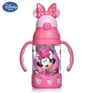 Image 4 - 500ml Disney princess mickey children water cup with straw Lanyard bottle primary school boy girl baby portable water kettle