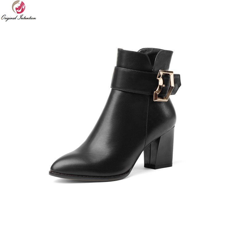 Original Intention Women Winter Ankle Boots Cow Leather Pointed Toe Square Heels Boots Gorgeous Black Shoes Woman US Size 4-8.5 2017 solid black winter spring women shoes slip on pointed toe spike high heels ankle boots women free ship size 9 12