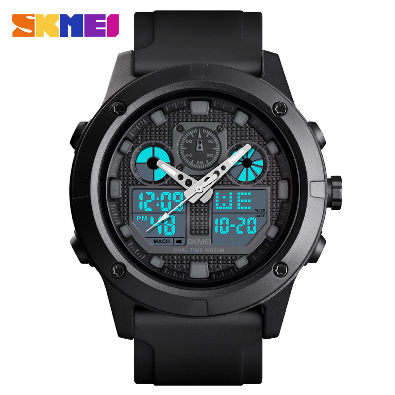 <font><b>SKMEI</b></font> <font><b>1514</b></font> Men Casual Digital Wristwatches Waterproof Double Time Week PU Strap Digital Sport Male Watches Relogio Masculino image