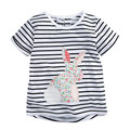 Girls wear summer children roundneck T-shirt cotton short sleeved stripe rabbit white half sleeve leisure