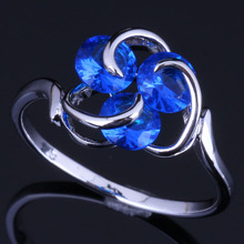 Fascinating Three Stones Round Blue Cubic Zirconia 925 Sterling Silver Ring For Women V0689