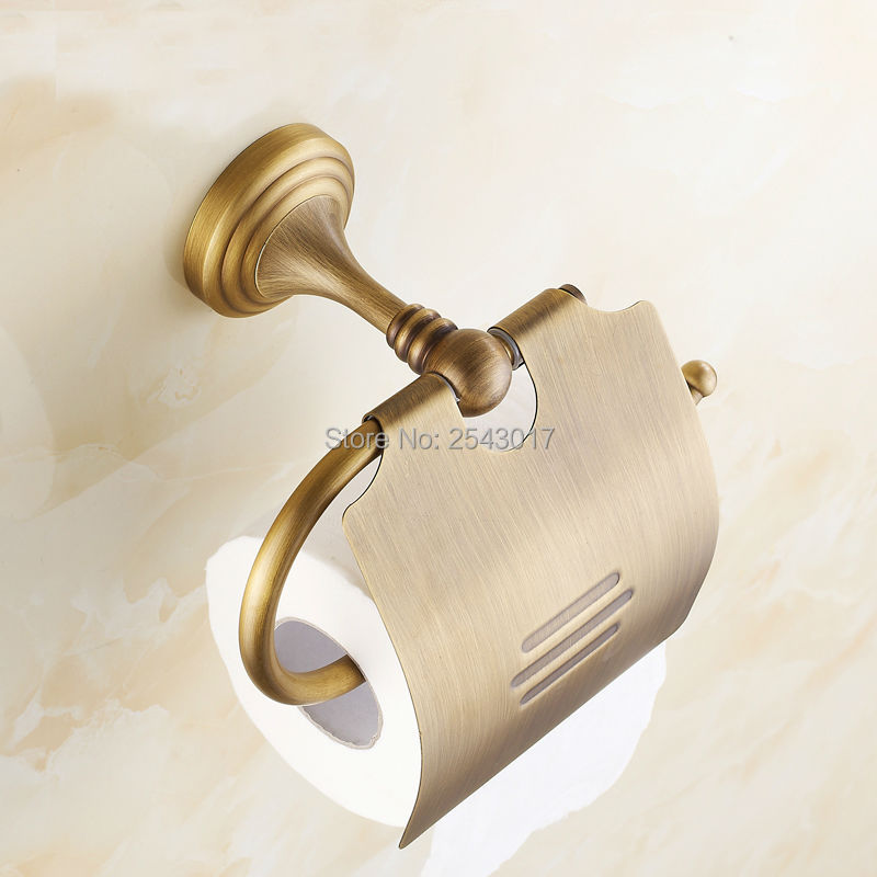 Newly Luxury Wall Mounted Brass Paper Roll Holder Toilet Tissue Box Antique Retro Bathroom Accessories ZR2303 retro kitchen toilet paper holder roll tissue holder bathroom accessories antique brass wall mount eu stock