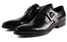 Новая мода коричневый загар/черный мужские туфли из натуральной Кожи мужские бизнес Обувь Дышащая мужская рабочая обувь с пряжкой