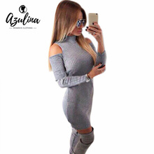 Party Club Dresses Off Shoulder Knitted Sweater Vestidos