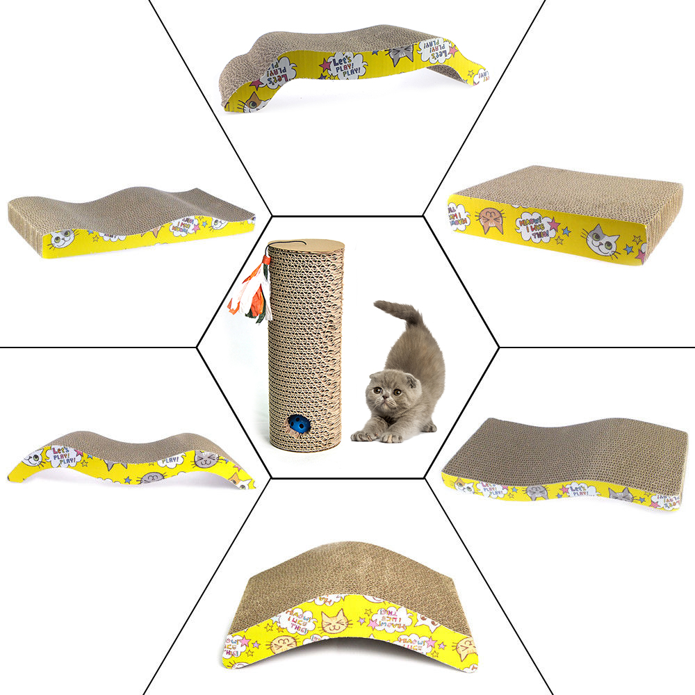 Catnip Cat Scratching Post Corrugated Paper Cat Scratcher Kitten Toy Scratching Post Cat Game Scratch Board Cat Supplies LY0011