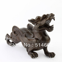 Pair of Brass Pi Yao Sculptures Fengshui /pi xiu STATUES FIGURINE/Pi Xie/For Wealth J2308