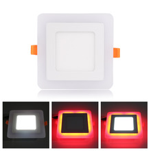 Ultra Slim 6W 9W 18W 24W Square Concealed Dual Color LED Panel Light Cool White+Blue/Red/Pink/RGB Lamp Downlight AC100-265V