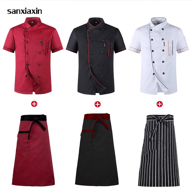 Wholesale Unisex Kitchen Chef Uniform Bakery Food Service Cook Short Sleeve shirt Breathable Double Breasted Chef Jacket clothes image