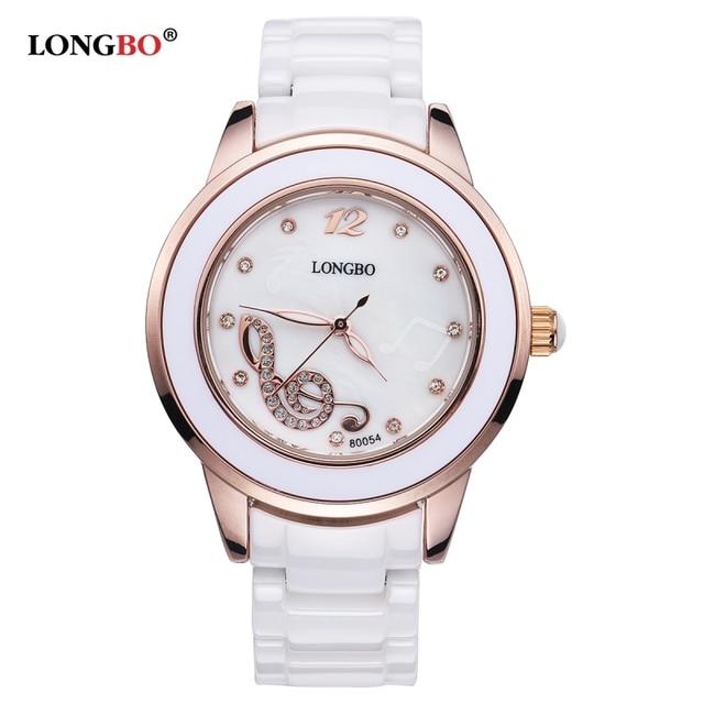 626241404c6 2018 LONGBO Marca Original Mulheres Relógios de Cerâmica De Luxo Nota  Musical Strass Senhoras Relógio de