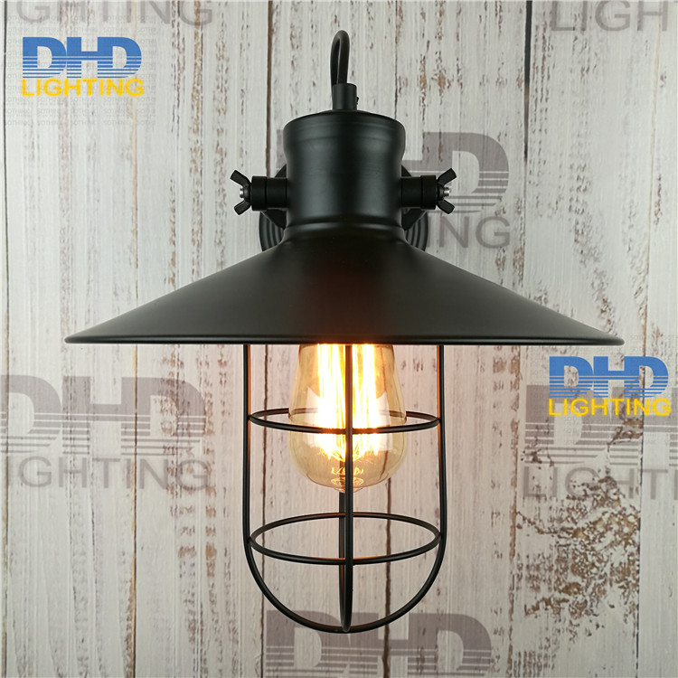 Free shipping sample order black iron shade vintage wall lamp Nordic creative retro iron cage glass telescopic folding iron lamp free shipping one sample order new style geometrical figure simple iron black finished pendant lamps dk 60