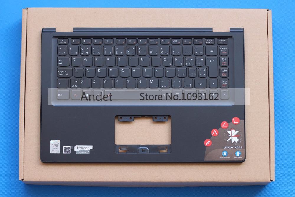 95% New Original For Lenovo Yoga 2 13 UK Keyboard + Palmrest Bezel Upper Case Cover Black Big Enter