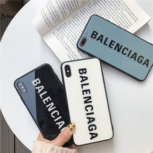 Luxury France Paris Brand hard soft edge Glass phone case for iphone X XS Max XR 8 7 6 6S Plus fashion BALENCI Sports cover(China)