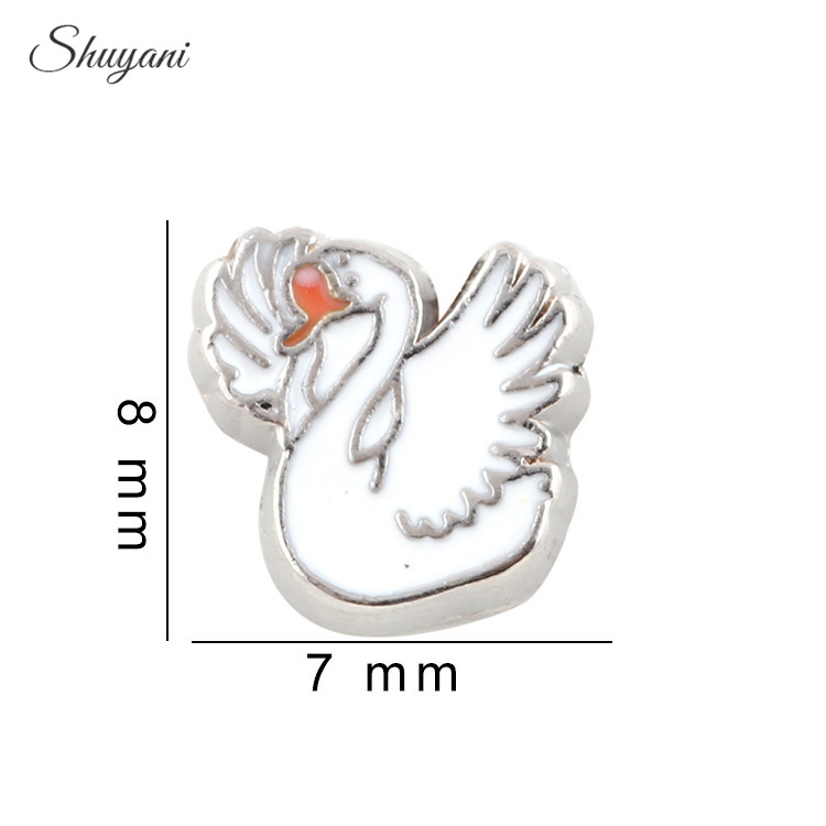 Swan Floating Locket Charm