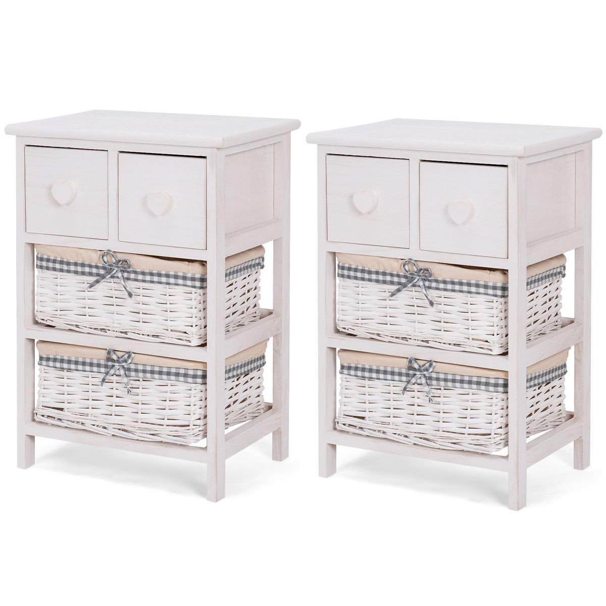 Giantex 2 PCS Nightstand Bedside End Table Bedroom Organizer with 2 Wicker Baskets Cabinet Home Furniture 2*HW57053 bedroom home furniture dresser table with 2 drawers mirror and stool neoclassical style kd packaged wooden carved materials