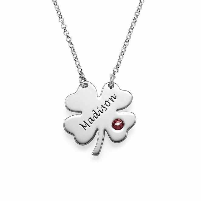 Four Leaf Clover Birthstone Necklace New Arrival Simple Long Necklaces Jewelry Custom Made Any Name YP2756