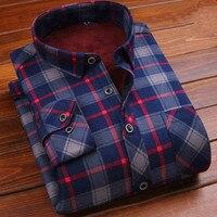 Hot Sell Winter Dress Men Shirt Long Sleeves Plus Velvet Thickening Slim Chemise Brand Checkered Thermal Men Warm Clohes Blouse