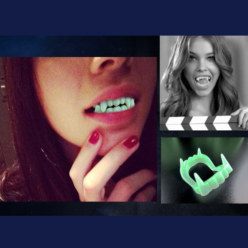 10Pcs set Halloween Vampire False Teeth Halloween Dress Up Fun Horror Gadget Noctilucent Green Plastic Shocker