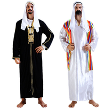 Arabic Male Muslim Costumes Hijab+thobe Clothing Set Men Islamic Turkish Dubai Kaftan Jubba Robe Gown Halloween Cosplay costumes(China)