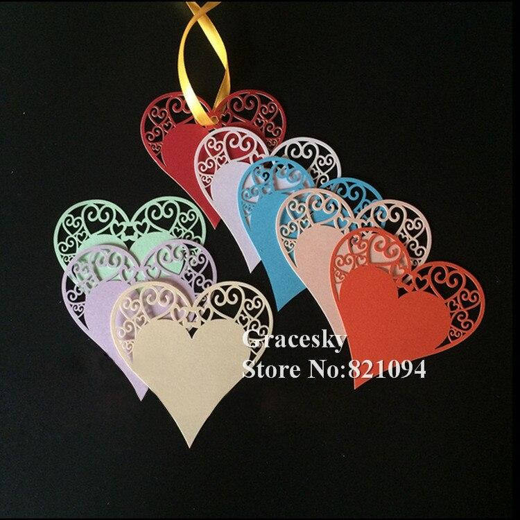 60 Чоп Бесплатная доставка Лазерная резка желание сообщение Бумага карты бирка подарочные карты свадебной вечеринки украшение сердце любов…
