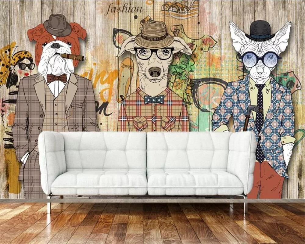 Beibehang 3d Wallpaper Retro Nostalgic Abstract Wooden Dog Cigar Animal Photo Wallpaper Art Painting Wallpaper For Walls 3 D Traveling