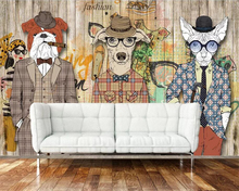 Beibehang 3D Wallpaper Retro Nostalgic Abstract Wooden Dog Cigar Animal photo wallpaper Art Painting for walls 3 d